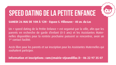 speed dating petite enfance le 26 mai